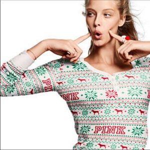 VS PINK Fair Isle Holiday Pajama Top + Bottoms. S